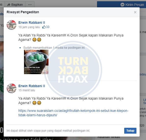 Jagat maya dihebohkan dengan postingan viral tentang klepon, postingan yang diunggah oleh akun facebook Erwin Robbani II